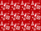 seamless pattern with christmas deers, snowflakes and trees