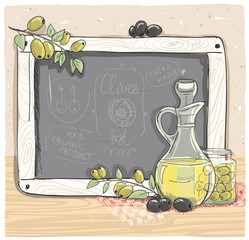 Illustration of olives and a bottle of olive oil with chalk boar