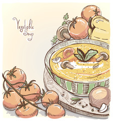 Illustration of vegetable soup with tomatoes