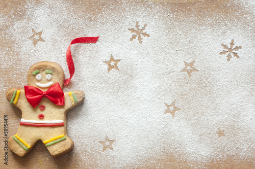 Christmas abstract food background with gingerbread man