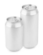 Two aluminum can isolated on white with clipping path