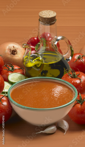 Bowl of gazpacho as done in Spain