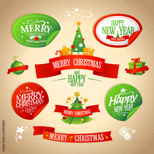 New year and Christmas designs collection in retro style.