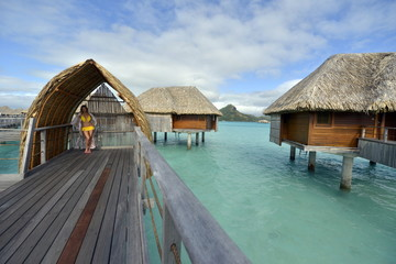 woman on vacation in Bora bora