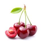Ripe cherries with leaf