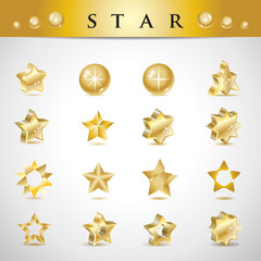 Star Icons Set - Isolated On Gray Background