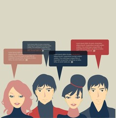 Group of people with speech bubbles design.