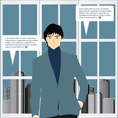 Businessman with city background vector.