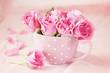 Obrazy na płótnie, fototapety, zdjęcia, fotoobrazy drukowane : Beautiful fresh roses in a  cup on a pink background