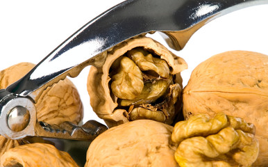 Brown greek nut with nutcracker