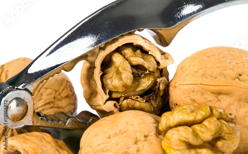 Brown greek nut with nutcracker