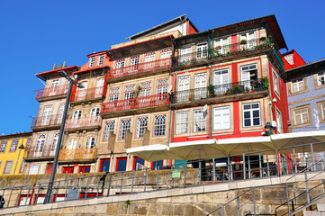 Multicolor houses of riviera in Porto