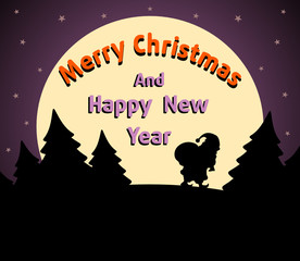 Christmas and New Year background card purple