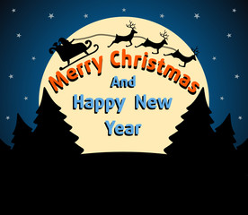 Christmas and New Year background card blue
