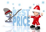 best price symbol presented by snowman and Santa claus
