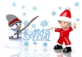 christmas special sign presented by snowman and Santa claus