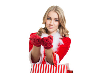 Happy smiling woman in santa claus clothes. Concept - winter,