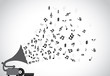 Gramophone silhouette playing music notes concept musical art