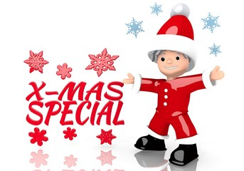 christmas special sign presented by mini santa claus