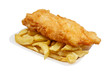 fish and chips in tray - 58957414