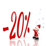 mini santa claus with giant discount symbol