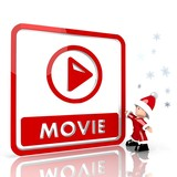 mini santa claus with giant movie file label