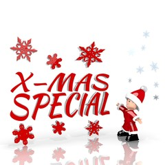 mini santa claus with giant christmas special symbol