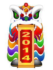 Chinese Lion Dance Head with New Year 2014 Scroll