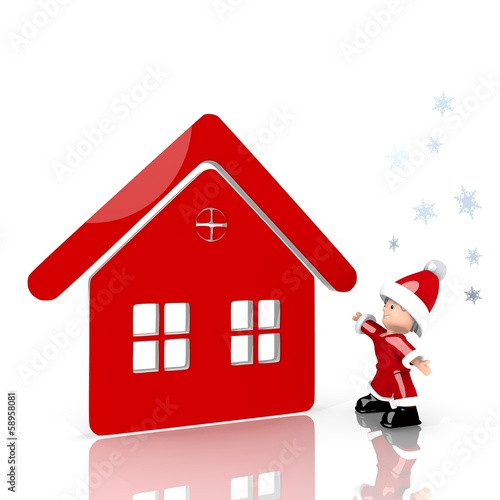 mini santa claus with giant house label