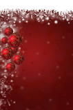 Snowflakes and Christmas Baubles Background in Red