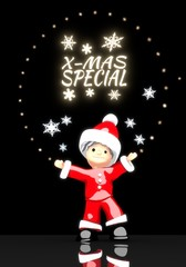 santa claus under a glaring christmas special label