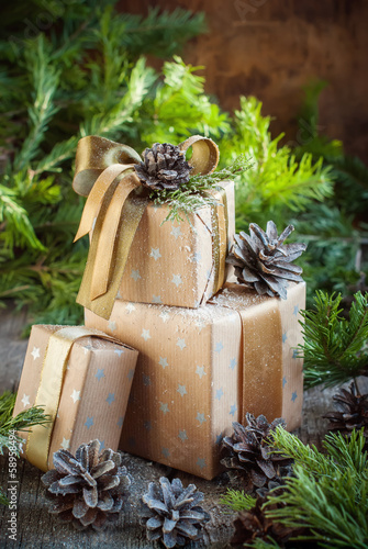 Christmas Composition from Boxes, decorated with natural decor