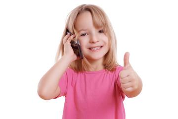 Kind mit Handy und Daumen hoch