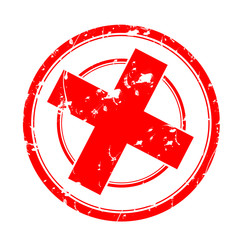 tampon rouge -  croix - refusé