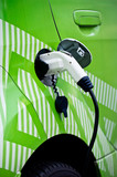 Detail of ecological green card re-fuelling, plugged in poster