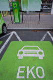 Priority parking place for green ecological cars poster