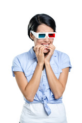 Viewer in 3D spectacles, isolated on white