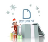santa claus with gift and document sign