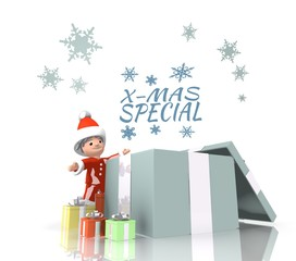 santa claus with gift and christmas special sign