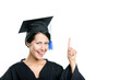 Graduating student in black academic gown and cap
