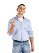 Man showing obscene gesture, isolated