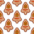 Gingerbread seamless pattern with christmas bell