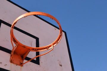 Basketball with sky background