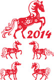 Horse zodiac symbol of 2014 year. Set