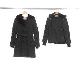 Black jacket hanging on hanger