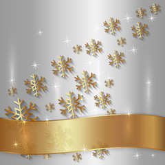 Vector Silver Plate with Snowflakes and Golden Ribbon