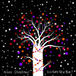 bright christmas card with decorated tree