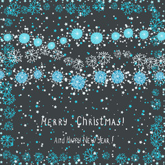 cute christmas card with snowflakes