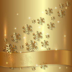 Vector Golden Plate with Snowflakes and Golden Ribbon