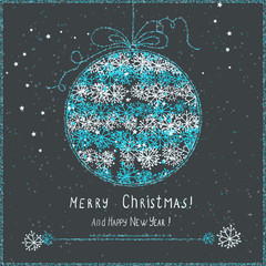 cute christmas card with hanging ball